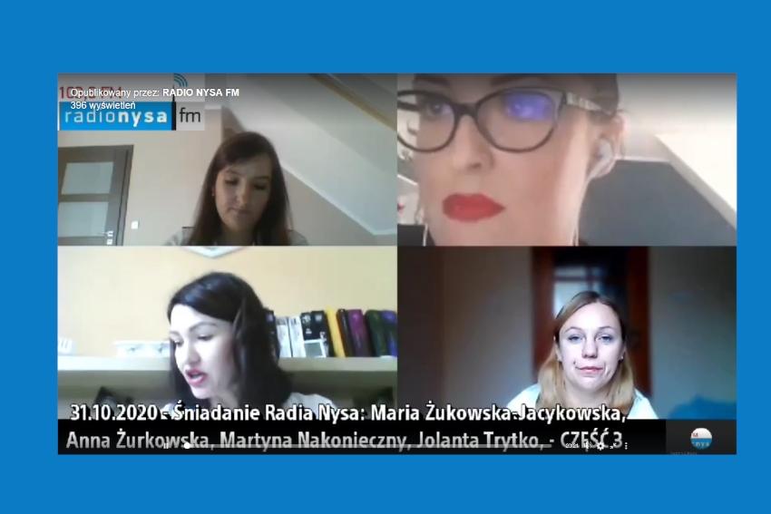 31.10 Gośćmi Śniadania Radia Nysa były: Maria Żukowska-Jacykowska, Anna Żurkowska, Jolanta Trytko-Warczak, Martyna Nakonieczny.